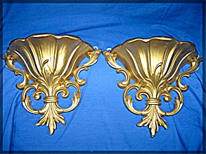 Wall Sconces,or Wall Pocket, pair, in gold tone (Image1)