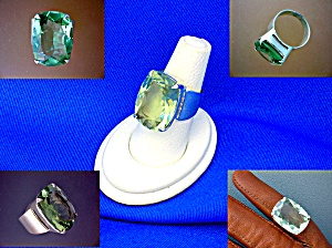 Sterling Silver Green Faceted Amethyst Ring