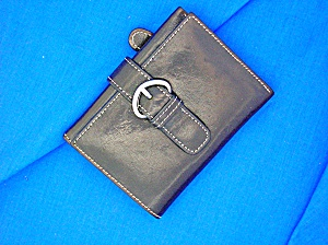 Black Leather Nordstroms Tri Fold Ladies Wallet