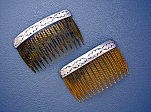 Sterling Silver and Plastic  Hair Combs (2) (Image1)