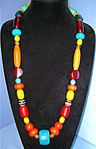 Necklace Lucite Turquoise Amber Tangerine Cherry Green (Image1)