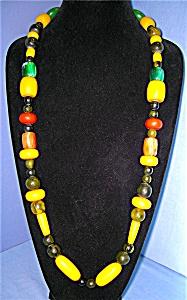 Lucite Bakelite Gold Green BlackTangerine Amber Necklac (Image1)