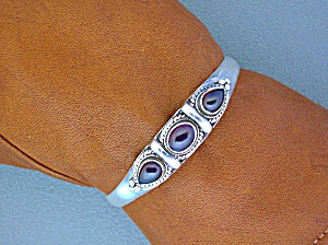 Sterling Silver And Cabochon Garnet Cuff Bracelet