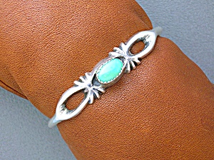Sterling Silver Green Turquoise Sand Cast Cuff Bracelet