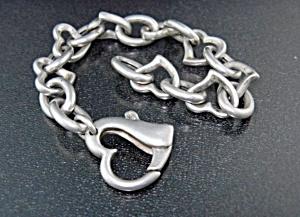 Italian Sterling Silver Heart Bracelet Heart Lock (Image1)