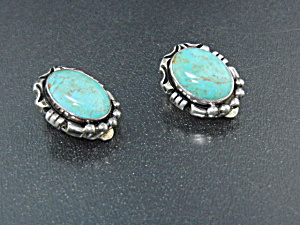 Carol Felley Sterling Silver Turquoise Clip Earrings (Image1)