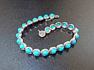 Sleeping Beauty Turquoise Marquisite Sterling Silver Br