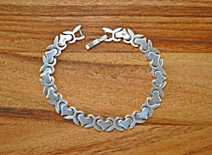 Sterling Silver Hearts Bracelet 7 1/2 Inches