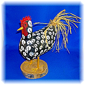 Native American Yazzie Carved Wood Rooster (Image1)