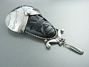Silver Mexico Onyx Aztec Face Brooch (Image1)