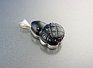 Native American Turquoise Obsidian Sterling Silver Frog (Image1)