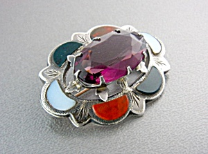 Antique Sterling Silver Agate Amethyst Scottish Brooch (Image1)