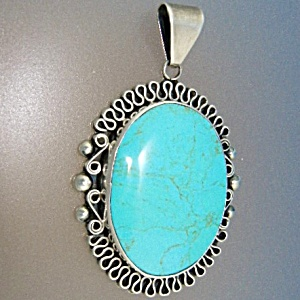 Taxco Mexico Turquoise Sterling Silver Bernice Pendant
