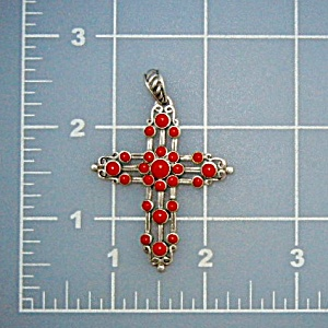 Native American Coral Sterling Silver Cross Pendant