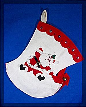 Christmas Stocking, hand made, Vintage felt Santa (Image1)