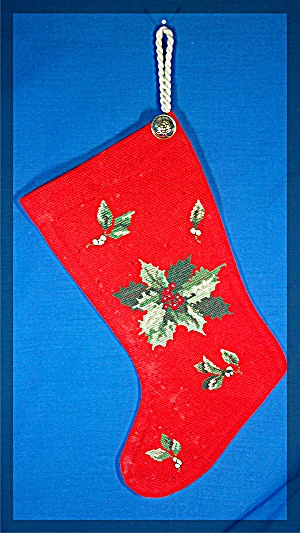 Christmas Stocking, Hand Made, Poinsettia, Cross Stitch