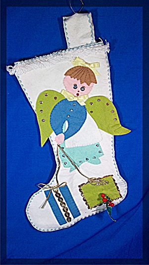 Christmas Stocking, handmade, felt angel (Image1)