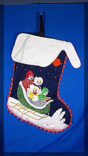 Christmas Stocking, handmade, felt, family in sleigh (Image1)