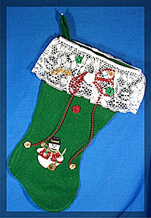 Christmas Stocking, felt, Snowman, beads and lace (Image1)
