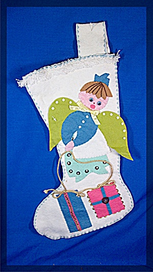 Christmas Stocking, felt angel, handmade (Image1)