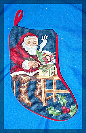 Christmas Stocking, cross stitched, Santa (Image1)