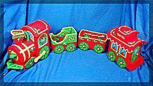 Christmas Train set, cross stitched (Image1)