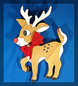 Rudolph The Red Nosed Raindeer, Hand Made Pine Wood