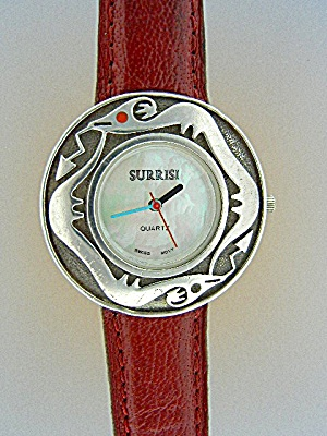 Surrisi Sterling Silver Coral Santa Fe Serpent Watch