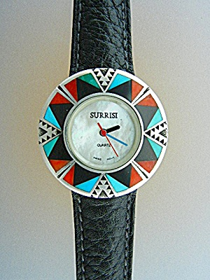 Surrisi Sterling Silver Turquoise Coral Onyx Inlays Wat