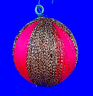 Christmas Ornament red silk with copper colored thread (Image1)