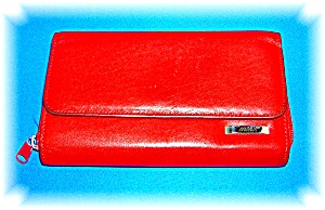 Red Leather MUNDI Check Book Purse Wallet (Image1)