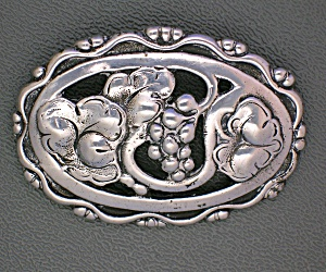 Sterling Silver Flowers Grapes Andleaves Brooch