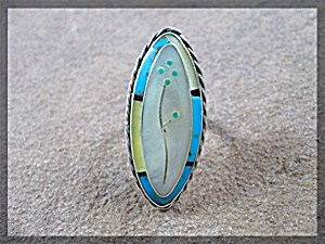Ring Silver Turquoise Mother Of Pearl Onyx