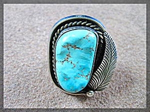 Native American Sterling Silver Turquoise Ring 70s (Image1)