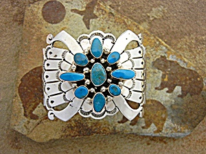 RAY BENNET Native American Sterling Silver Turquoise Cu (Image1)