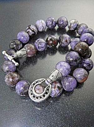 Russian Charoite Beads Silver Toggle Clasp