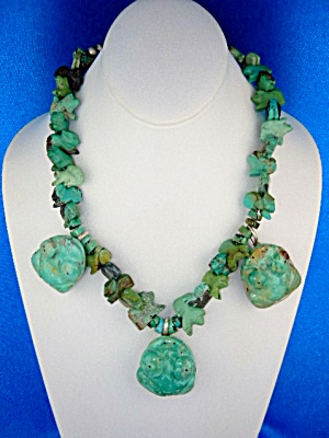 Navajo Carved Turquoise Frogs Ncklace Stacey Turpen (Image1)