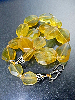 Citrine Faceted Bead Necklace Sterling Silver
