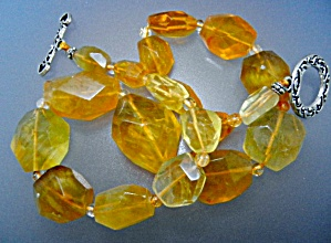 Citrine Faceted Beads Necklace Sterling Silver Toggle