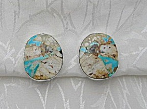 Native American Turquoise Sterling Silver Clips Signed