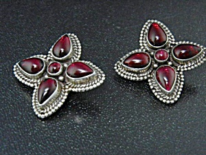 Native American Sterling Silver Pink Tourmaline Clips