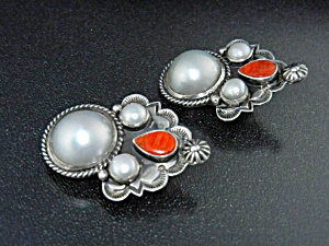 Native American Sterling Silver Pearls Spiny Oyster Cad