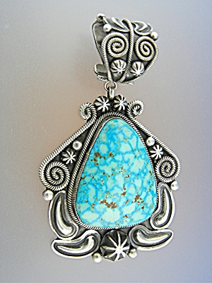 Navajo Sterling Silver Sleeping Beauty Turquoise Pendan