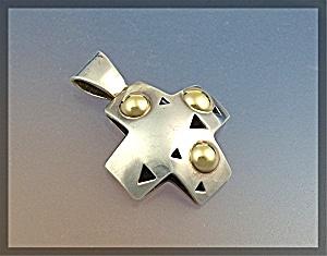 JOHN ATENCIO 18K Gold Sterling Silver Cross Pendant (Image1)