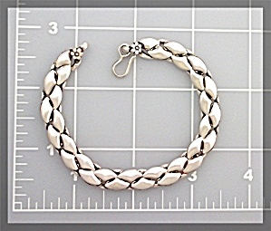 Bracelet Sterling Silver Woven Link  Flowers S Clasp (Image1)