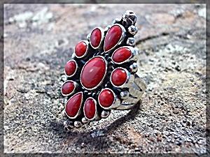 Native American Coral Sterling Silver L Ganado  (Image1)