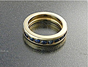 Ring 14K Gold and Sapphire Chanel Set Band (Image1)