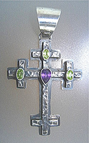 Native American Sterling Silver Amethyst Peridot Cross