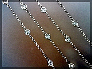 Necklace Sterling Silver CZ Tiffany Style Chain Necklac (Image1)