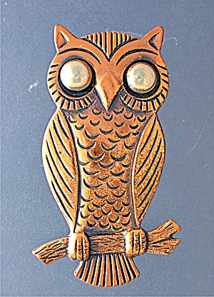 Copper Owl brooch Silver Eyes (Image1)